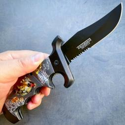 "11"" Full Tang Bone Hunting Knife w/ Sheath Tactical Survival"