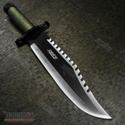 """13.25"""" Two Tone Blade Rambo Survival Hunting Knife with Surv"""