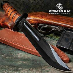 USMC MARINES TACTICAL BOWIE SURVIVAL HUNTING KNIFE MILITARY